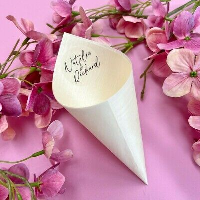 EMPTY Biodegradable Bamboo Confetti CONES Wedding + Personalised Stickers