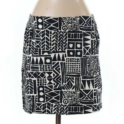 2c185128d J. Crew Factory Mini Skirt Size 4 Navy Blue White Geometric Tribal Print  Cotton