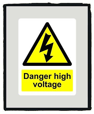 Danger High Voltage Warning Yellow Safety Sign warning sticker - Various Sizes