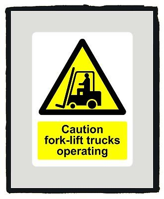Caution Forklift Truck Warning Yellow Safety Sign sticker - Various Sizes