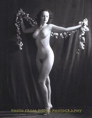 "Vintage Nude Woman with Garland 8.5x11"" Photo Print Naked Female B&W Pinup"