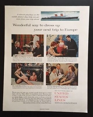 1961 United States Lines cruise ship fun travel to Europe vintage print ad