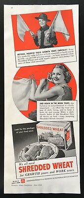 1938 Nabisco Shredded wheat biscuits cereal breakfast growth vintage print ad