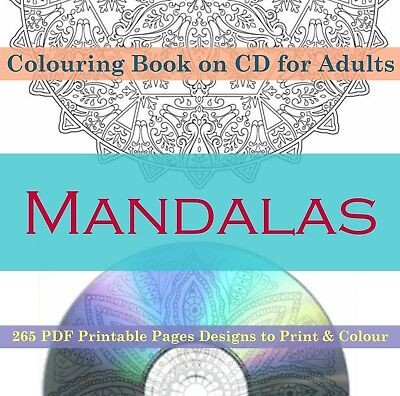 Colouring Books For Adults 265 PDF PRINTABLE Pages on CD Animals Mandalas