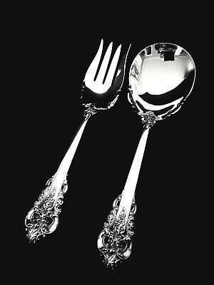 Wallace Sterling Silver Grand Baroque Salad Serving Spoon and Fork Set 🍴 NICE!