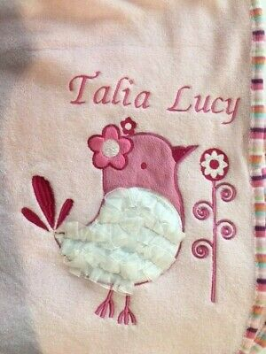 Soft Touch Cute Personalized Baby Wrap Blanket  Blue Pink Frilly Motif