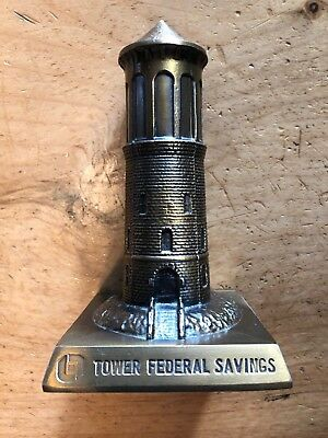 Vintage Tower Federal Savings Lighthouse Metal BANK BANTHRICO CHICAGO, ILL