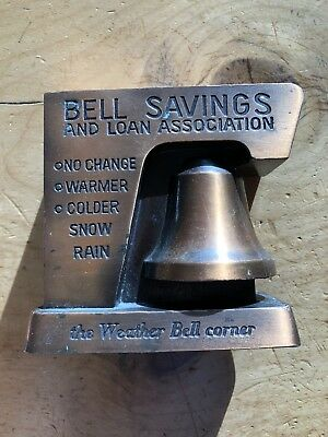 Vintage Bell Savings & Loan Weather Bell Metal BANK BANTHRICO CHICAGO, ILL