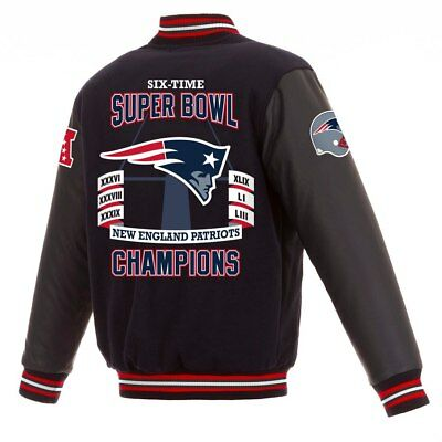 New England Patriots NFL 6-Time Super Bowl Champions Wool Leather Rev. Jacket