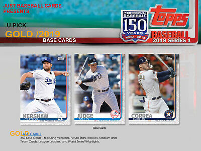 2019 Topps Series 1 One Gold /2019 Card Singles U Pick Complete Your Set