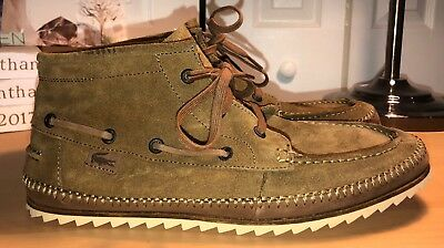 c0c0ac2cf6b LACOSTE SAUVILLE MID SRM Brown Suede Chukka Ankle Boots Mens 12