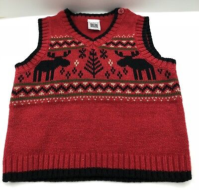 f61ebe1e Carter's Baby Boys Red Sweater Vest Christmas Reindeer Size 3M Red Black  Trim