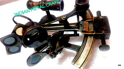 """Nautical 4"""" Solid Brass Sextant Nautical Marine Instrument Astrolabe Ships"""