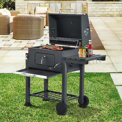 Outsunny Charcoal Grill BBQ Barbecue Trolley Garden Backyard W/ Shelves Wheels