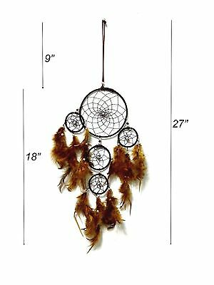 "Brown Handmade Dream Catcher Wall Hanging Decoration with Feathers Gift 27"" Long"