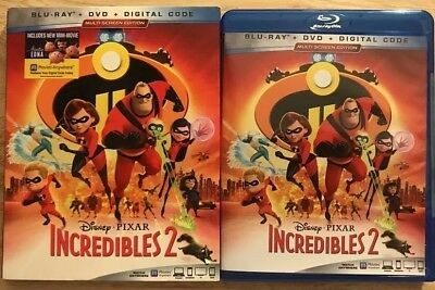 Disney's Pixar Incredibles 2 Blu Ray + Dvd 3 Disc Set With Slipcover Free Shippi