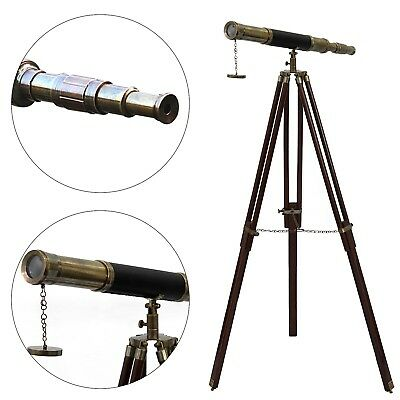 Nautical Floor Standing Antique/Leather Griffith Astro Telescope Wooden Tripod