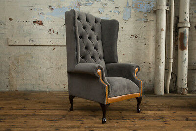 Slate Grey Velvet & Vintage Tan Leather High Back Chesterfield Wing Chair,