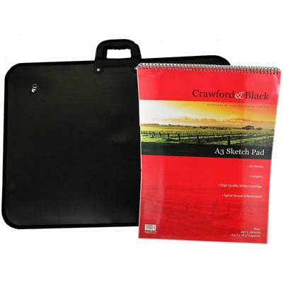 Artist Crawford & Black A3 Art Portfolio And Drawing Paper Sketch Pad Bundle