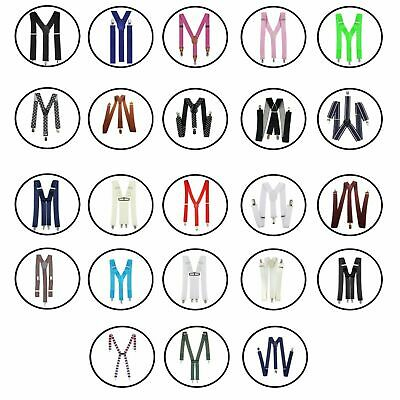 Kids 20mm 25mm Braces Elastic Strips Suspender Button Hole Adjustable Trouser