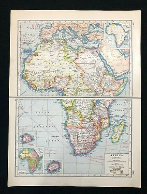 Vintage Colour Atlas Map 1920, AFRICA (GENERAL), Harmsworth's Atlas
