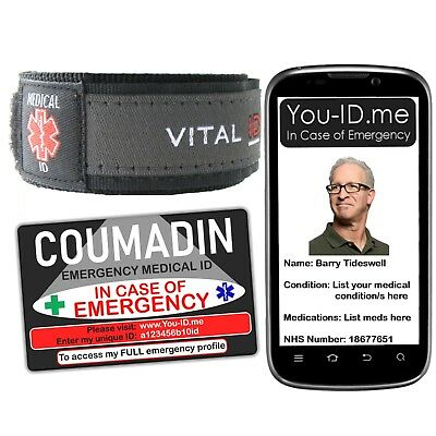Coumadin Alert Bracelet & Medical ID Card Emergency Make Ambulance Crew Aware