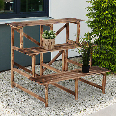 Outsunny 3 Tier Wooden Flower Tier Garden Plant Display Ladder 100Lx80Wx80H(cm)