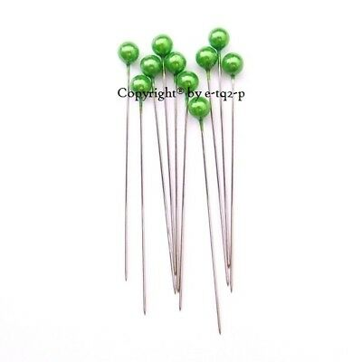 """216 Premium Quality Oasis® 6mmØ Round Pearl Bouquet Corsage Pin 2.5"""" High Green"""