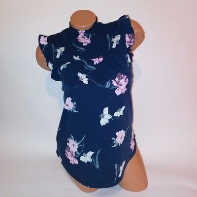 c0ace1b1c1d21 No Boundaries Tank Top Small Navy Blue Pink Floral Smocked Top Sleeveless