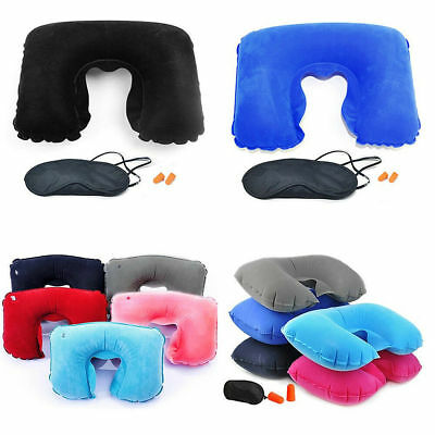 Travel essentials Inflatable Neck pillow Eye shades mask earplugs various colors