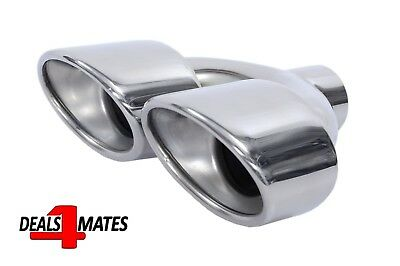 Universal Twin Double Sport Chrome Exhaust Pipe Trim Tip Tail Muffler 50mm