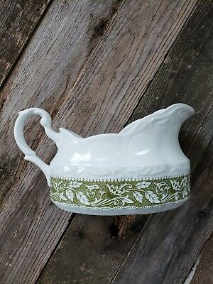 J & G Meakin Sterling Colonial English Ironstone England Green Gravy Boat