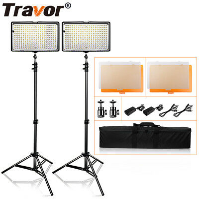 2-Pack 240pcs LED Video Light  Panel + Light Stand For Studio Photography Camera