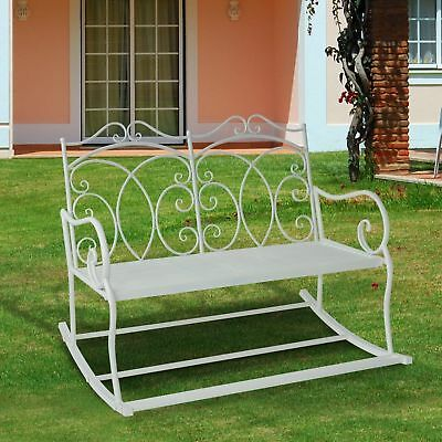 Pleasing Outsunny 2 Seater Metal Garden Bench Outdoor Rocking Chair Theyellowbook Wood Chair Design Ideas Theyellowbookinfo