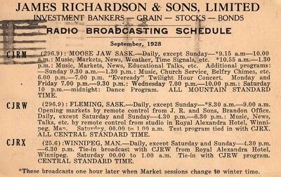 Cool 1928 MWBC Broadcast Schedule - Canadian Prarie Stations
