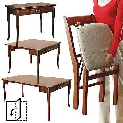 Expanding Dining Table 4 Chairs Extending Folding Console Side Hallway Unit