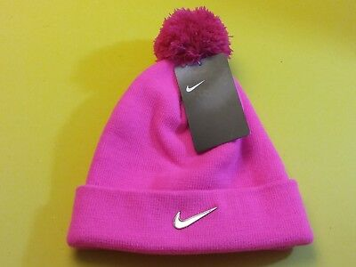 60bc0ba5659 NIKE PINK KNIT Beanie with Pom-Pom Youth Girls 4-6X NWT -  18.74 ...