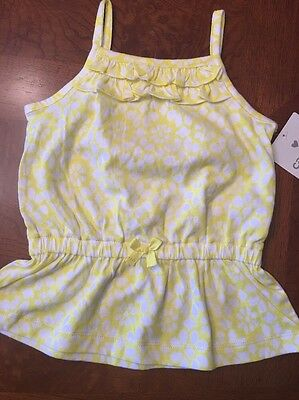 2a34b5f5 NWT- Infant Girls Carter's Yellow And White Sleeveless Top- Size 12 Months