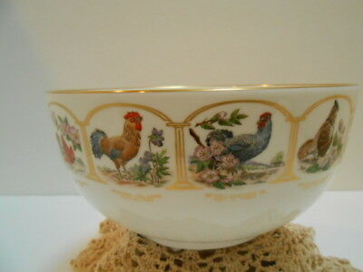 Boehm Porcelain Birds Flowers 13 Original States Large Round Bowl Roosters Birds