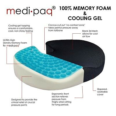 Medipaq®️ Cooling Gel Seat 100% Memory Foam Cushion - Coccyx Cut Out