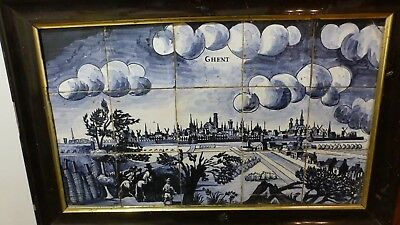 15 Antique Delft Lille Flanders tiles ? City view panel Ghent Gent Gand.XVIIIth
