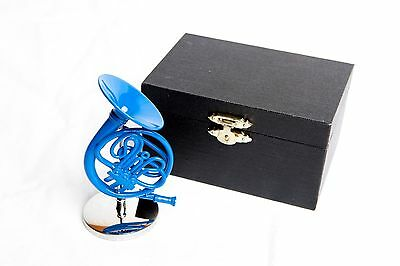 "Decorative 4"" Blue French Horn with Case, inspired by How I Met Your Mother"