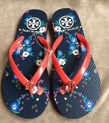 3f9179e34694b3 NWB Tory Burch Printed Thin Flip Flop Flip-Flops Red Pansy Bouquet 409 Size  5