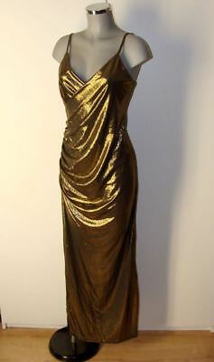 Edel Sexy Gold Schwarz farbendes Stretch Satin Glanz Kleid Gr XL II52