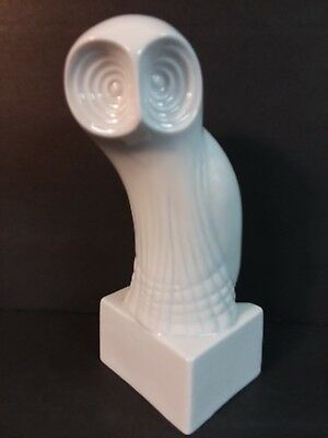 RARE Royal Dux Modernist Owl Sculpture White Porcelain Czechoslovakia