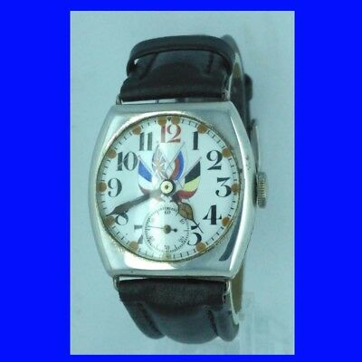 WW1 Vintage Military Presentation Silver Cushion  Wrist Watch 1914