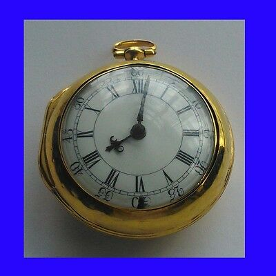 Mint 22k Gold Fusee Verge London  P-Case Pocket Watch 1747