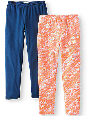 One Step Up Girls' Soft Full Length Leggings Pritned and Solid, 2-Pack