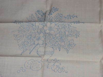 4 Pieces Printed Linen For Embroidery - 2 Cushions/2 Runners Flowers & Fruit