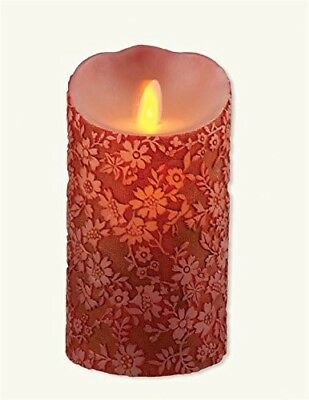 Victorian Trading Co Queen Annes Lace Crimson Red Flameless Candle Battery Op LG